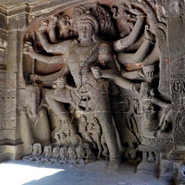 Shiva Gajasamharamurti, slaying the Elephant Demon, Kailasha temple in Ellora