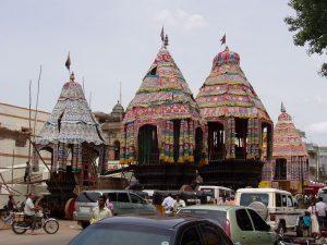 Festival chariots for Nataraja and Devi in Chidambaram for Ani Thirumanjanam