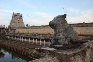 Chidambaram Nataraja temple, view across the Shivaganga tirtha to the East Gopuram