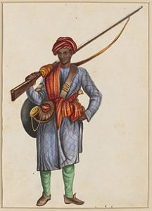 An Indian Sepoy or professional soldier in the 18th century