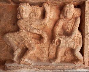 Dancer with drummer from the Chidambaram Shiva Nataraja temple