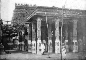 The Chidambaram Nataraja temple photo archive shows us this pillared hall or mandapa, no longer in existence today.