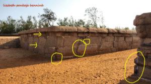 Mahabalipuram, Shore Temple, megalithic wall