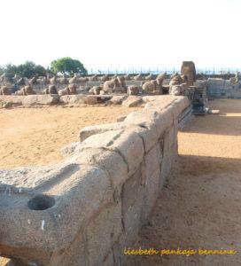 Mahabalipuram Shore Temple drill holes in granite