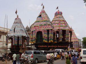 Chidambaram three festival chariots all decked out for the great festival, Nataraja, Sivakamasundari, Chandikeshvara
