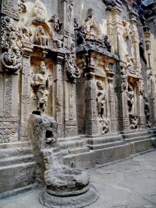 Ellora Kailasha temple sacntum North wall with Brahma in central niche