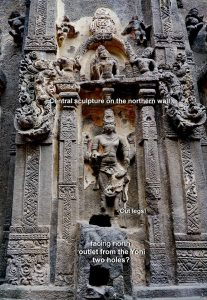 Ellora Kailasha temple Brahma niche and pranala or waterspout