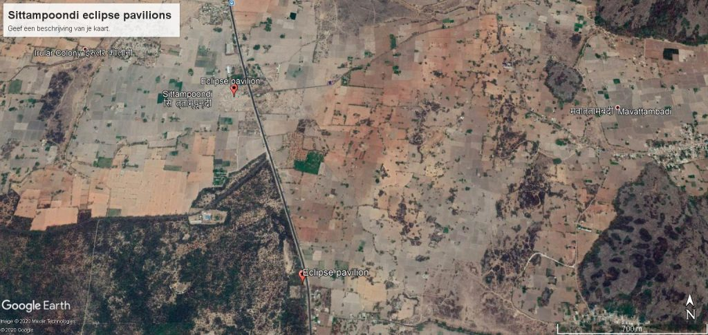 Google Earth location map of eclipse pavilion near Sittampoondi on the Villupuram-Gingee road