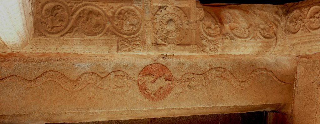 Hampi, gopuram crosbeam with eclipse iconography, nagas or cobras approaching a disc